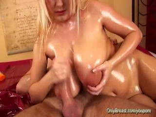 big natural breast oiled titjob