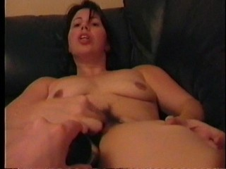 Dildoing Hairy Pussy On My Leather Couch