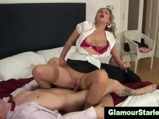 Clothed classy cock wench spit roast and dp and loves it