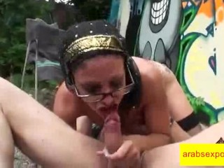 Natural Busty Iraqi slut Exploited in Glory hole Blowjob