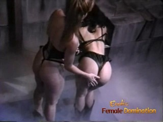 Slutty brunette hussy receives a proper spanking from her sexy domina