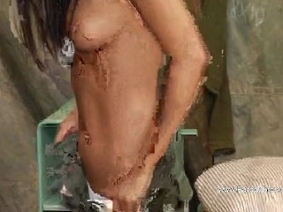 Sexy Brunette Lady Army Is Fingering