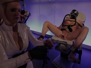 Clinic games – Latex beauty fills up his ass and plays with his cock