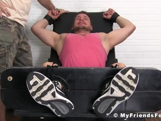 Submissive big man Hans Berlin tickled and pleased