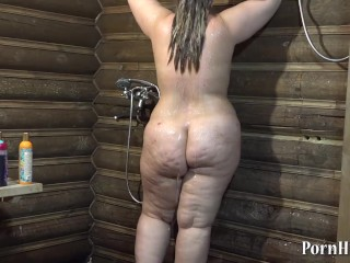 Irene bbw, fuck in the shower with a bottle!