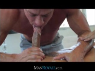 Masseuse slips dick into his mouth