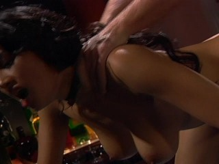 Hot Asian girl fucks guy after the bar is closed
