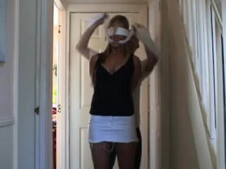 Blindfold blonde gagged