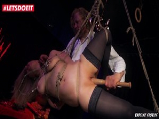 Tied Up babe Has her Pussy Stretched with Baseball Bat