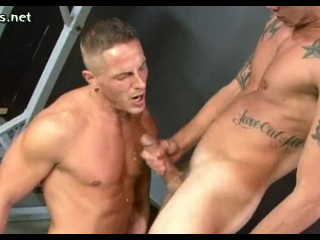 Sexy gays having anal in the gym