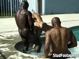 Two hot black guys seduce each other in the swimming pool and then fuck white guy!