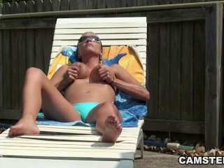 Rubbing & fucking my pussy with toys by the pool
