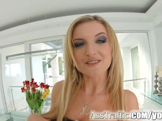 Asstraffic blondie takes it hard and fast in her ass