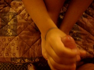 Her First Footjob!!  Really Cute Girl!
