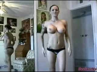 Busty Athletic Babe Rides Dick Facing Mirror