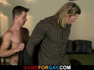 Strong straight man seduced into 69 and gay sex