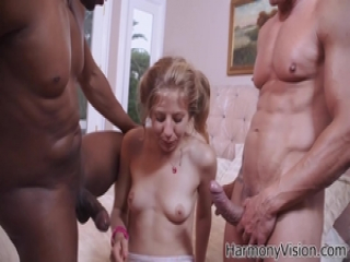 Teen babe getting pounded by two huge cocks