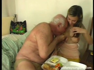 old daddy having fun with his son girlfriend