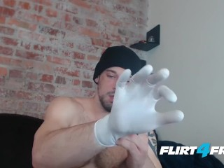 Flirt4Free Model Allen Cole – Hunk with Latex Gloves Jerks Off His Big Uncut Cock