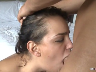 Fuck the girl in the ass after deep blowjob