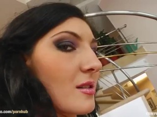 Group cumshots for Rebeca Blake on Cum For Cover in a blowbang scene