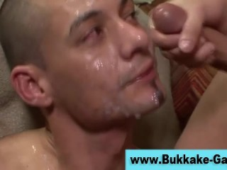 Gay bukkake group ass fuck and facial