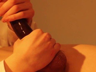 Wanking with condom