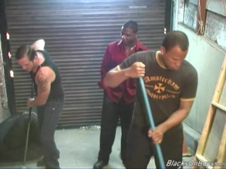 Two black janitors fucking a white guy in the ass
