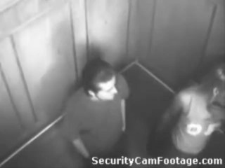 Horny Couple On Elevator Security Cam