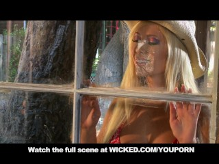 BLONDE COWGIRL WITH BIG TITS & ASS FUCKS IN CABIN