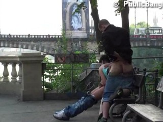 Hot young teen girl in public threesome with two guys Part 2