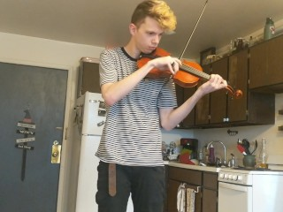 Trying to practice violin