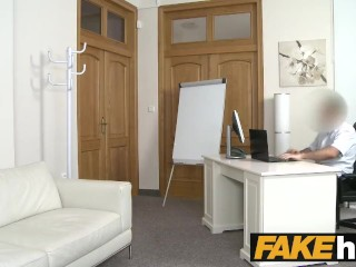 Fake Agent Nervous young amateur with hot body sprayed with cum
