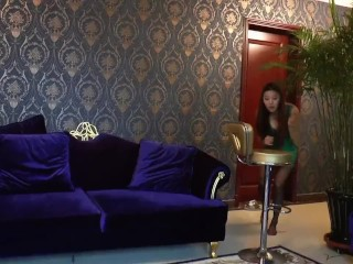 Asian female mistress and foot slave