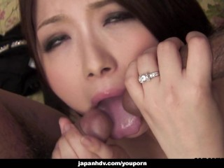Asian bimbo handles a few dicks like a boss