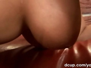 Blonde on fishnet fucked and jizzed on boobies