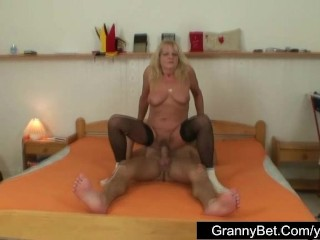 Hot granny fucked by young