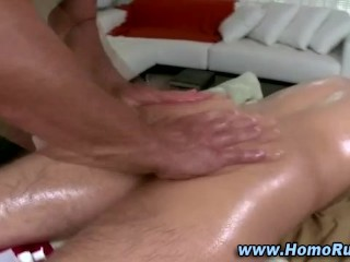 Real straight guy gets oiled up and get his ass licked by hunk