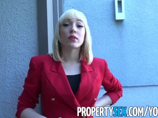 PropertySex – Agent wearing red blazer fornicates in mansion