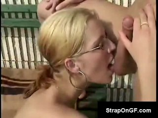 Blonde with small tits loses tennis match and has to ride the winners cock on the spot
