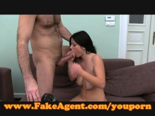 FakeAgent Hot Brunette gives slippery tit wank