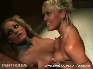 Two Hot Blondes Sucking Cock and Getting Fucked!