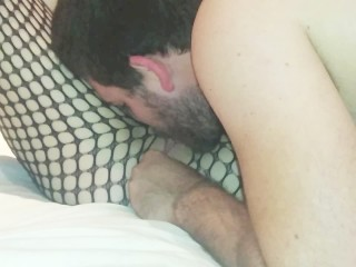 Girlfriend fucked with anal beads and creampied in fishnets