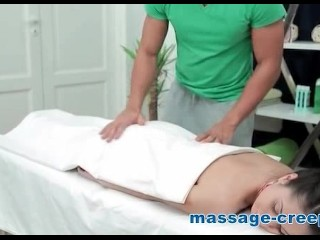 Nasty pigtail wants to tasting cum of masseur