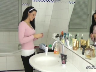 Step sister helps german not step brother with handjob pov