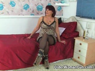 British milf Christina X makes her nyloned pussy tingle