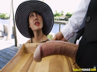 Tiffany Rain hammered by the big cock of her waiter