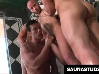 Tattooed gay gets ass nailed in shower