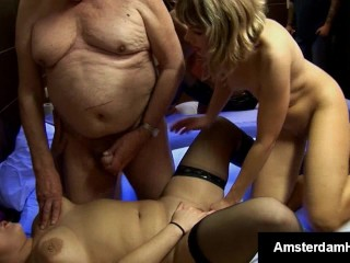 Dutch skank takes mature foreigners hot load on her chest