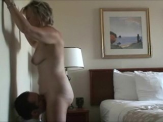 Young guy eating her mature vagina